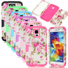 Peony Flower Dual Layer Hybrid Shockproof Matte Case For Samsung Galaxy S4 S5 S6