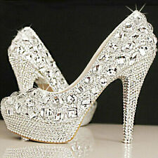 Women Ladies Platform Gems Weddging Party Crystal High Heels Shoes Size 3074#