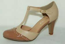 Chelsea Crew Gatsby Two Tone T-Strap Mary Jane Heels with Patent Toe-Cap