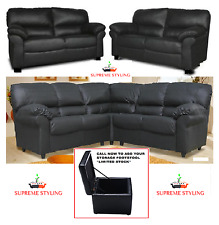 NEW MODERN LUSH CANDY FAUX LEATHER 3+ 2 SEATER CORNER SOFA BLACK BROWN FOOTSTOOL