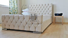 Florida Diamond Fabric Upholstered Bed Frame Cream 4'6 Double 5ft King Size