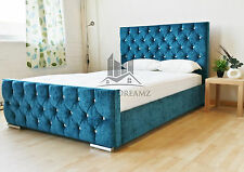 Stylish Teal Fabric Upholstered Bed Frame Chenille 4FT6 Double 5FT king Size
