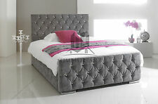 Stylish Grey Fabric Upholstered Bed Frame Chenille 4FT6 Double 5FT king Size