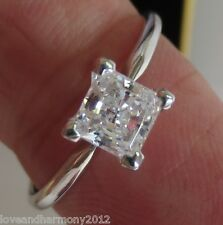 Solitaire 1.00 cts Princess cut Giamond Engagement Ring 14KT SOLID White Gold