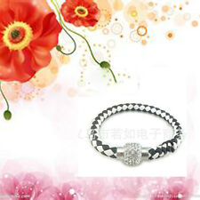 New Fashion Leather Wrap Wristband Cuff Magnetic Crystal Buckle Bracelet Bangles