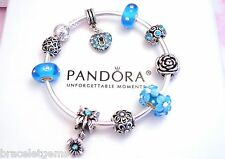 Authentic Pandora Silver Bangle Charm Bracelet With European charms Crystal Love