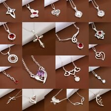 Wholesale Solid925 Silver Jewelry Pendant Necklace Chain Jewelry Best gift+Box
