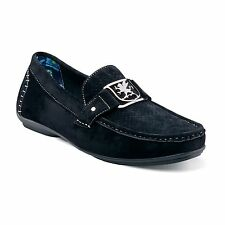 """Stacy Adams """"Primo"""" Black White Stitch Leather Lining MicroSuede Loafer Shoes"""
