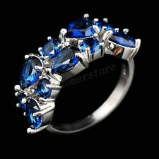 Jewelry CZ Ring Size 6-10 Band Blue Sapphire Women's 10Kt White Gold Filled Free