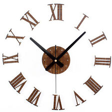 DIY Wall Clock Imitation Wooden Roman Front Home Decor Timer Unique Gift Hour