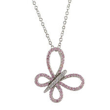 Girls Sterling Silver Pink & White Cubic Zirconia Butterfly Pendant Necklace