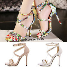New Womens Sexy High Heels Ankle Strap Peep Toe Stilettos Sandals Ladies Shoes
