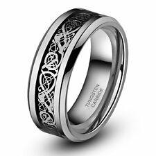 8mm Silvering Celtic Dragon Tungsten Carbide Ring Men's Women's Wedding Band