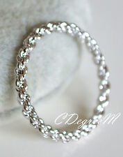 18K White Gold Silver GP SP Twisted Thumb Pinky Ring Slim Stackable Celeb Style