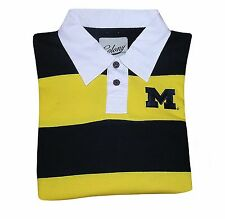 Ncaa Mens Apparel- Michigan Wolverines Rugby Style Polo Shirt, Long Sleeves, New