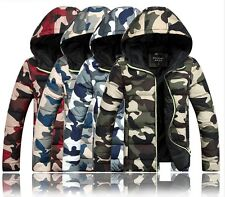 Mens Winter Slim Warm Hooded Camouflage Padded Jackets Puffer Bomber Down Coats