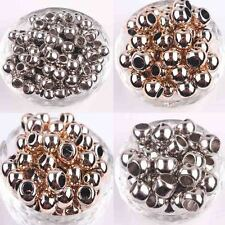 50Pcs Acrylic Silver Rose Golden Plated Big Hole Spacer Charms Beads 10/12/14MM