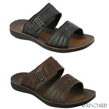 Mens Leather Black Brown Big Size Cross strap Summer Open Sandals Beach Slippers
