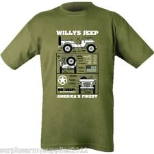 WILLYS JEEP MENS T-SHIRT MILITARY VEHICLE FORD WW2 BRITISH US ARMY