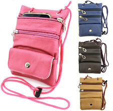 Small Travel Bag for Passport Wallet Tickets Leather Crossbody Messenger Purse