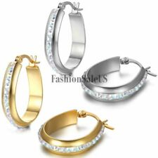 Womens Fashion Stainless Steel Rhinestone Oval Circle Charm Huggie Hoop Earrings