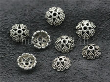 30/100/500pcs Tibetan Silver Flower Bead Caps Charms Beads Cap Jewelry DIY 8mm