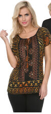 Krista Lee Tonga Group Animal Print Top Embroidery Beads Cap Sleeves Blouse