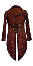 MENS WOMENS TAIL COAT RED BLACK BROCADE STEAMPUNK GOTHIC ROCK PIRATE MILITARY