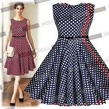 Women's 1950's Rockabilly Vintage Polka Dots Swing Skaters Ball Gown Party Dress