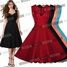 Women's 1950 Rockabilly Vintage Evening Party Tea Dresses Swing Skater Ball Gown