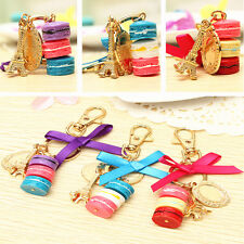 Macaron Keyring Cake Key Chain Ornaments Gift Resin Pendant Bag Car Decor 10x6cm
