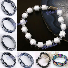 Unisex Black/White Hematite Magnetic Therapy Bracelets Rectangle Round Beads M