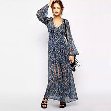Women Vintage Floral Long Sleeve  Maxi Dress Chiffon Jacket Holiday Beach Gown