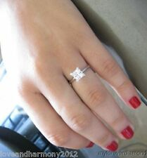 Real 14k solid white gold 1.25 princess Brilliant cut Solitaire Engagement ring