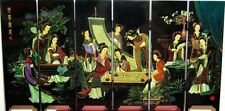 "Chinese Lacquer Painting Beautiful""12 BELLE"" Folding Screen2 002"