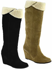 Ladies Womens Leather Suede Mid Wedge Mid Calf Riding Fur Boots Shoe Size 3-8
