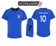 PERSONALISED KIDS RANGERS FC 100% OFFICIAL FOOTBALL T SHIRT GENUINE TOP ANY NAME