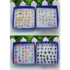 18 Pairs/lot Mixed Styles Silver Plated Studs Earring Platinum Jewelry HOT