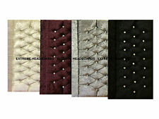 QUALITY NEW VELVET CRUSHED VINTAGE HEADBOARD IN 4 COLOURS + 6 SIZES + 2 HEIGHTS