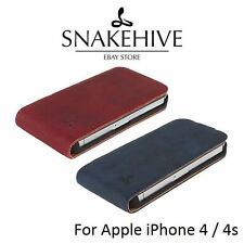 Snakehive® Vintage Nubuck Leather Flip Case Cover for Apple iPhone 4/4S
