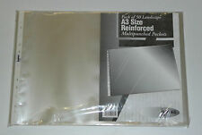 A3 Landscape Punched Plastic Pockets Portfolio Sleeves Recycled Clear 10-50-100