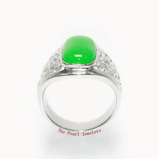 Beautiful Cabochon Green Jade Solitaire Ring set Solid Silver Sterling .925 TPJ