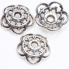 50/100Pcs Tibet Silver Chic Hollow Round Flower Bead Caps Handcrafts Making 10mm