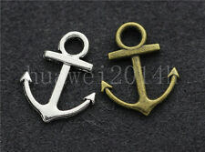 10/40/200pcs Tibetan Silver two-sided anchor Charms Pendant Craft DIY 19x15mm