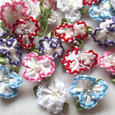 40/200PCS Satin Ribbon Flowers Bows W/beads Appliques Wedding Deco Lots Mix