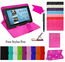 "Plain/Bling 7"" 10"" 10.1"" Universal Stand Leather Cover For Android Tablet PC Tab"