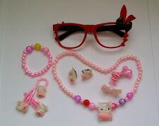 HelloKitty Glasses Necklace Bracelet Earrings Hair Clip Ring Girl Jewelry Sets