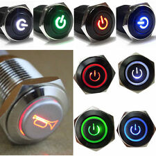 12V 16mm LED Power Push Button Switch Silver Aluminum Metal Switch Latching Type