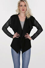 Loretta Quilted PU Sleeve Open Jacket in Black