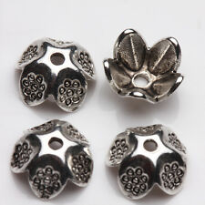 25/50Pcs Tibet Silver Tiny flower Shape Bead Caps Jewelry Makings Handmade 9*4mm